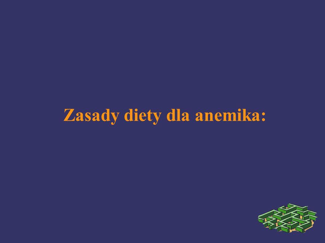 Zasady diety dla anemika: