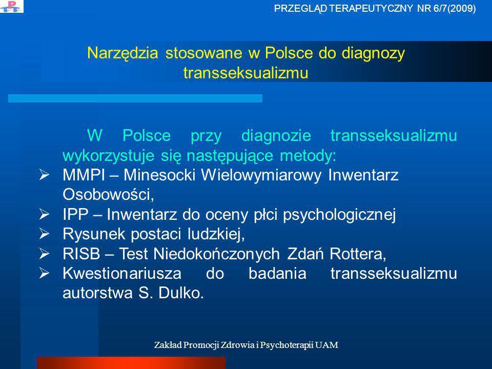 Narzędzia stosowane w Polsce do diagnozy transseksualizmu