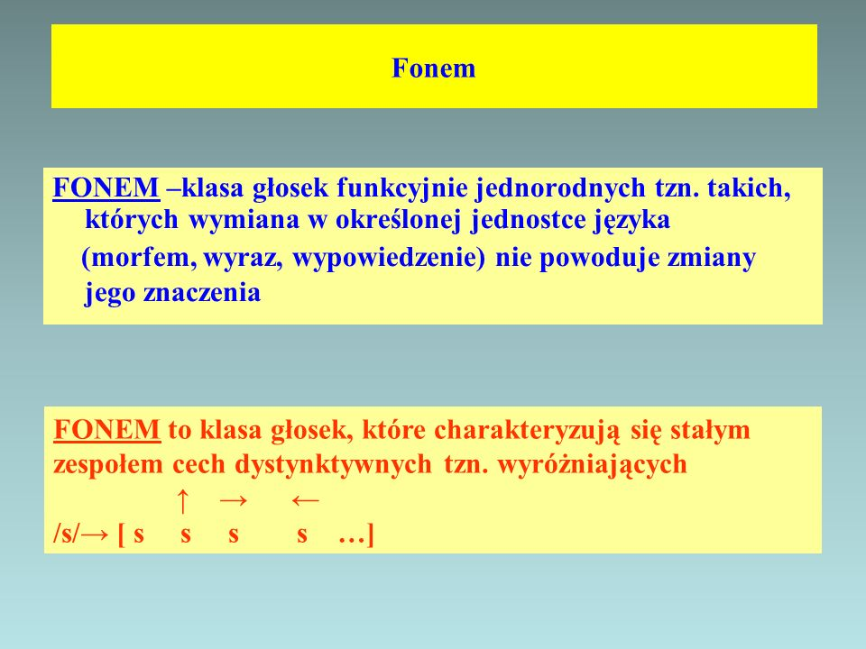 Fonem FONEM –klasa głosek funkcyjnie jednorodnych tzn. takich, których wymiana w określonej jednostce języka.