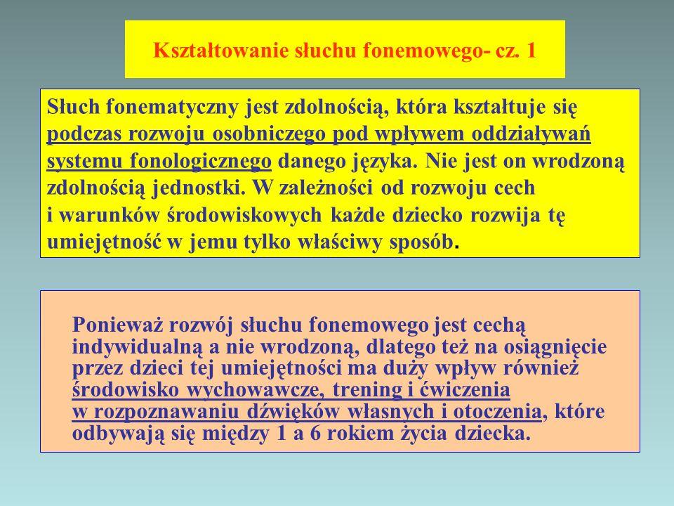 Kształtowanie słuchu fonemowego- cz. 1