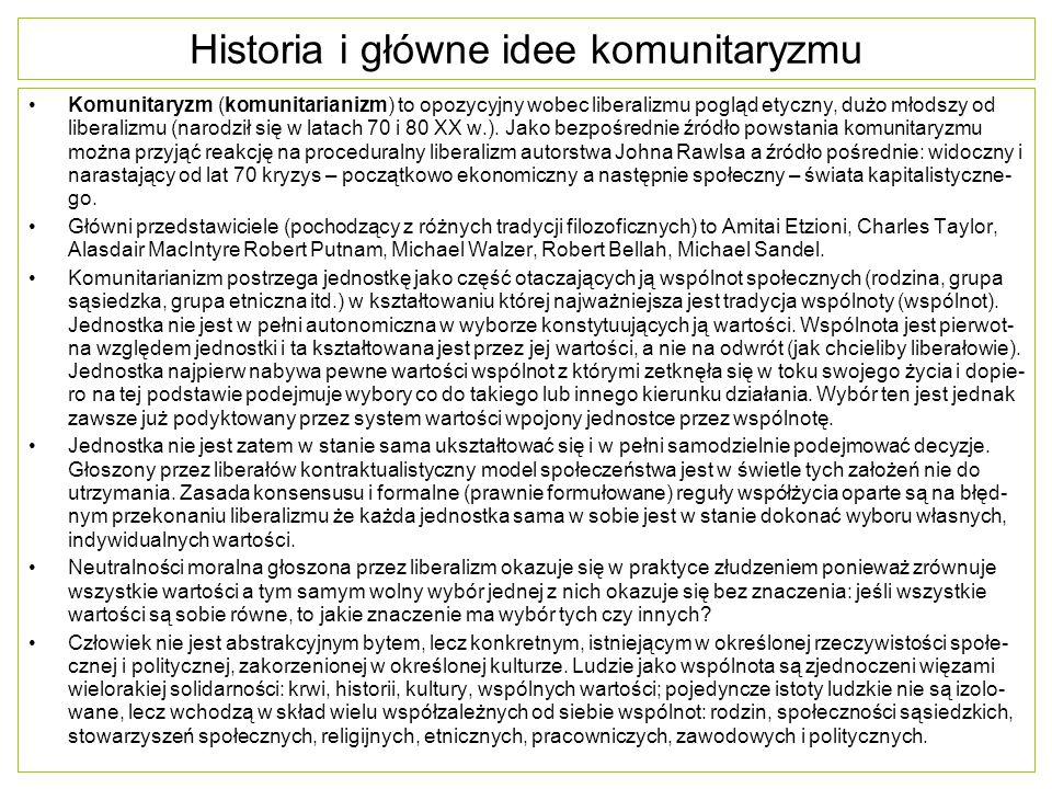 Historia i główne idee komunitaryzmu