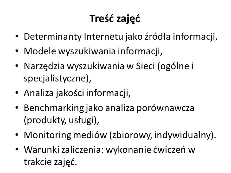 Treść zajęć Determinanty Internetu jako źródła informacji,