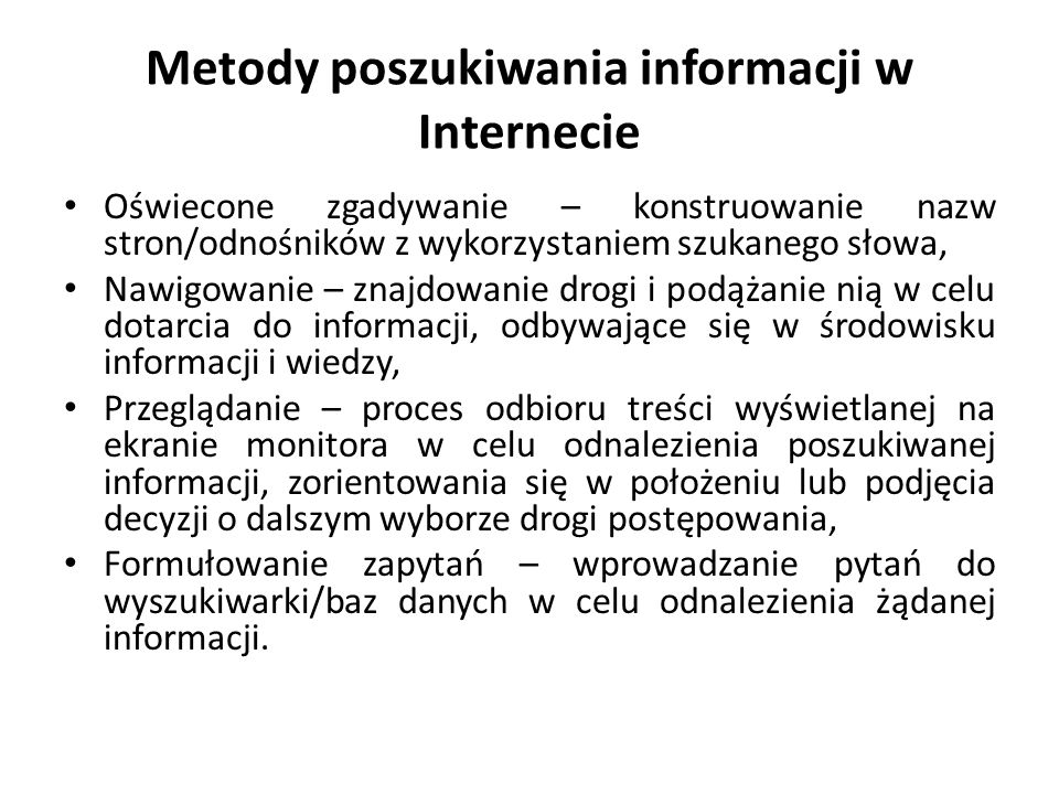 Metody poszukiwania informacji w Internecie