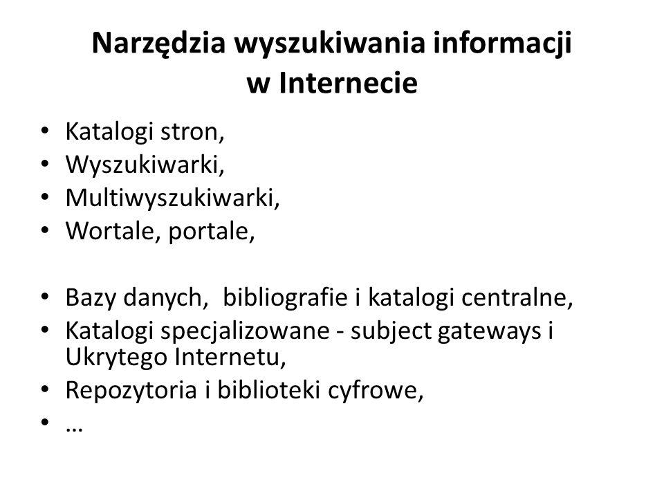 Narzędzia wyszukiwania informacji w Internecie