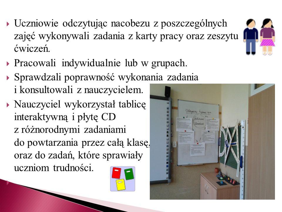 Uczniowie odczytując nacobezu z poszczególnych zajęć wykonywali zadania z karty pracy oraz zeszytu ćwiczeń.