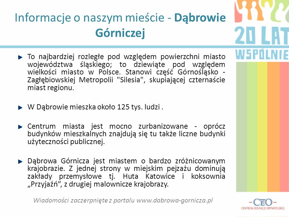 Informacje o naszym mieście - Dąbrowie Górniczej