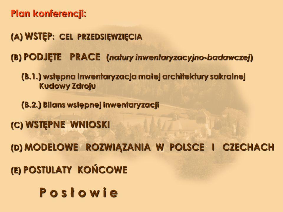 Plan konferencji: (A) WSTĘP: CEL PRZEDSIĘWZIĘCIA