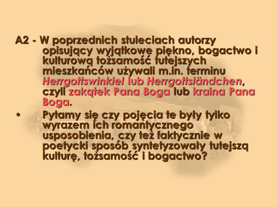 A2 - W poprzednich stuleciach autorzy opisujący wyjątkowe piękno, bogactwo i kulturową tożsamość tutejszych mieszkańców używali m.in. terminu Herrgottswinkiel lub Herrgottsländchen, czyli zakątek Pana Boga lub kraina Pana Boga.