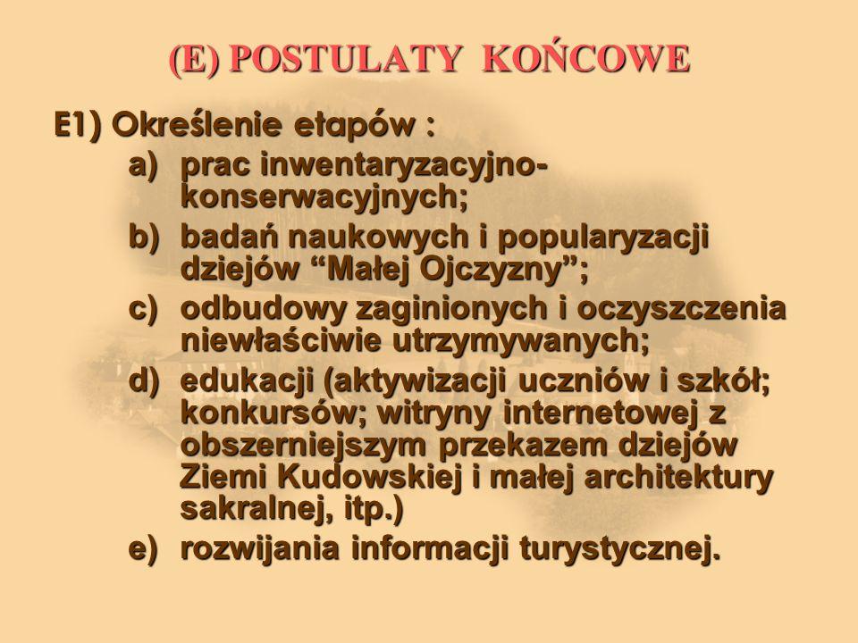 (E) POSTULATY KOŃCOWE E1) Określenie etapów :