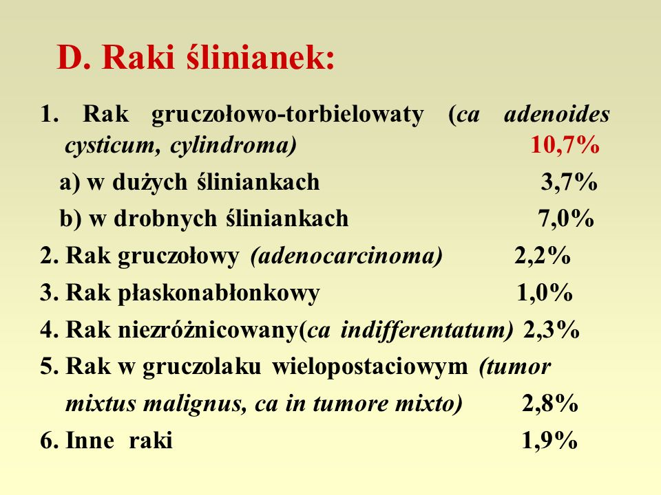 D. Raki ślinianek: 1. Rak gruczołowo-torbielowaty (ca adenoides cysticum, cylindroma) 10,7%