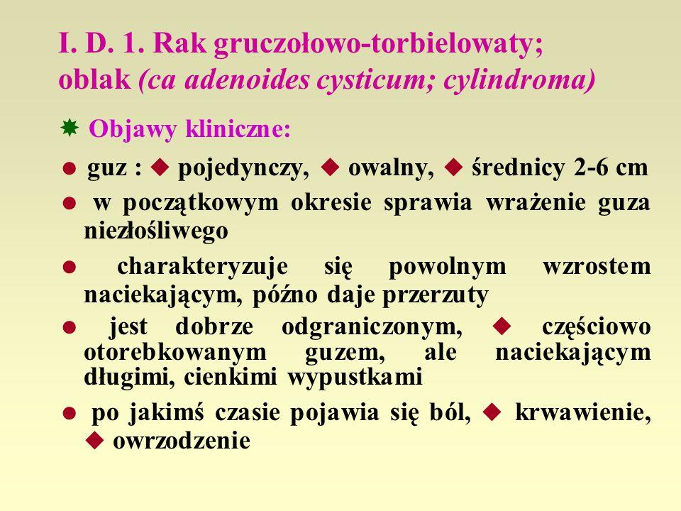 I. D. 1. Rak gruczołowo-torbielowaty; oblak (ca adenoides cysticum; cylindroma)