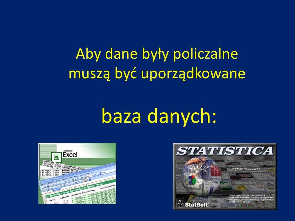 Aby dane były policzalne muszą być uporządkowane