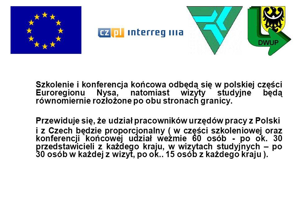 Szkolenie i konferencja końcowa odbędą się w polskiej części Euroregionu Nysa, natomiast wizyty studyjne będą równomiernie rozłożone po obu stronach granicy.