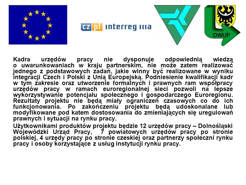 Kadra urzędów pracy nie dysponuje odpowiednią wiedzą o uwarunkowaniach w kraju partnerskim, nie może zatem realizować jednego z podstawowych zadań, jakie winny być realizowane w wyniku integracji Czech i Polski z Unią Europejską. Podniesienie kwalifikacji kadr w tym zakresie oraz utworzenie formalnych i prawnych ram współpracy urzędów pracy w ramach euroregionalnej sieci pozwoli na lepsze wykorzystywanie potencjału społecznego i gospodarczego Euroregionu. Rezultaty projektu nie będą miały ograniczeń czasowych co do ich funkcjonowania. Po zakończeniu projektu będą udoskonalane lub modyfikowane pod katem dostosowania do zmieniających się uregulowań prawnych i sytuacji na rynku pracy.