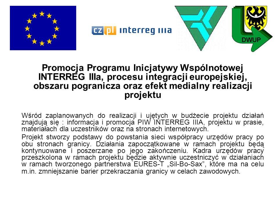 Promocja Programu Inicjatywy Wspólnotowej INTERREG IIIa, procesu integracji europejskiej, obszaru pogranicza oraz efekt medialny realizacji projektu
