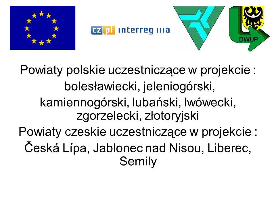 Powiaty polskie uczestniczące w projekcie :