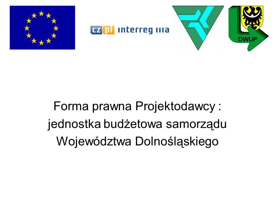 Forma prawna Projektodawcy : jednostka budżetowa samorządu