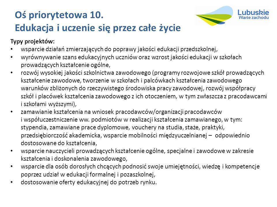 Oś priorytetowa 10. Edukacja i uczenie się przez całe życie