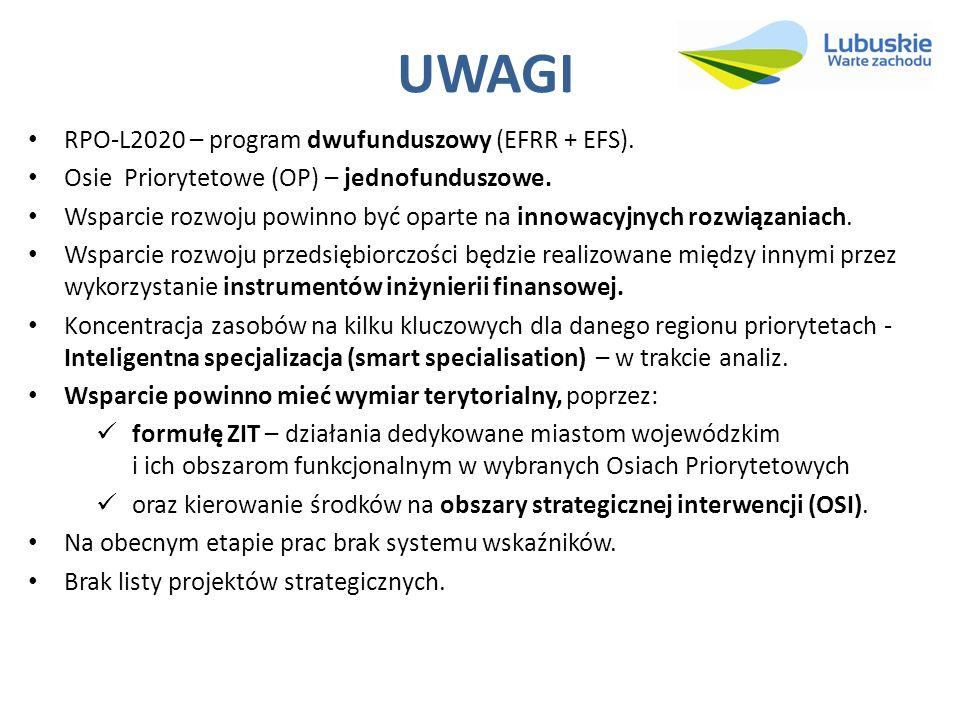 UWAGI RPO-L2020 – program dwufunduszowy (EFRR + EFS).