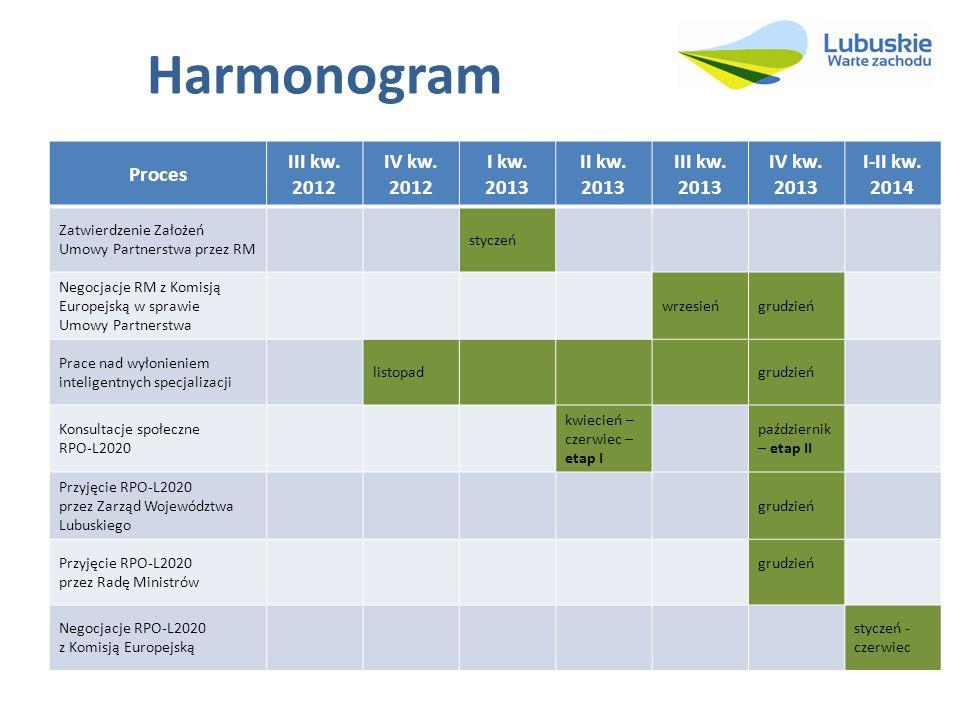 Harmonogram Proces III kw. 2012 IV kw. 2012 I kw. 2013 II kw. 2013
