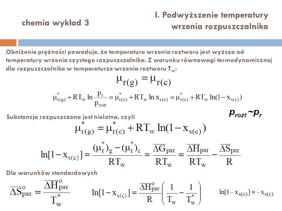I. Podwyższenie temperatury wrzenia rozpuszczalnika chemia wykład 3