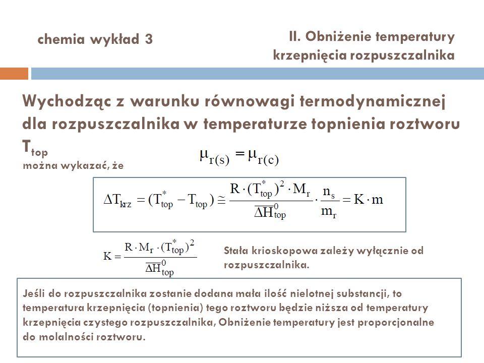 chemia wykład 3 II. Obniżenie temperatury krzepnięcia rozpuszczalnika.