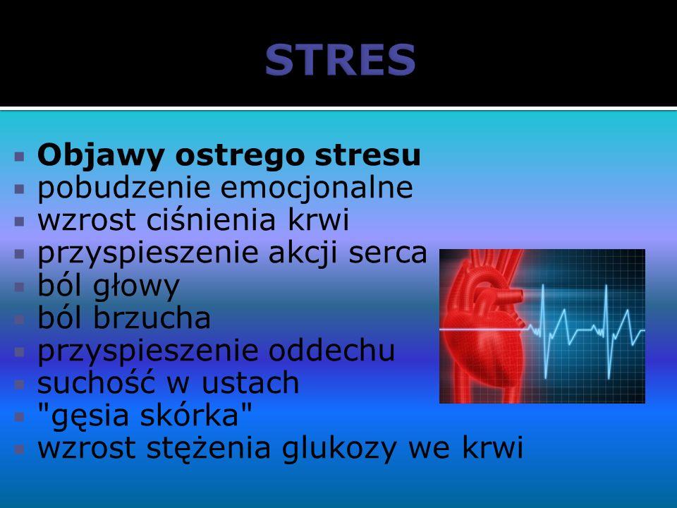 STRES Objawy ostrego stresu pobudzenie emocjonalne