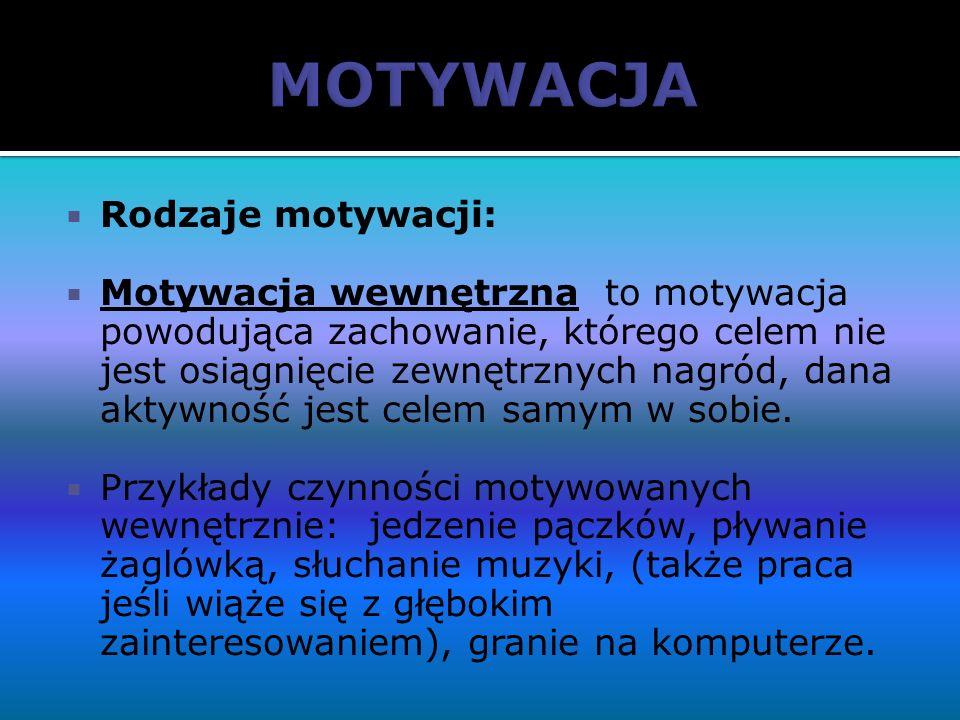 MOTYWACJA Rodzaje motywacji: