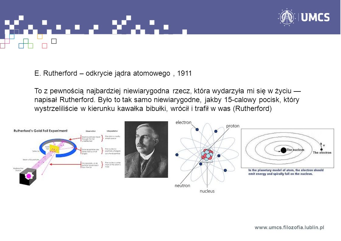 E. Rutherford – odkrycie jądra atomowego , 1911