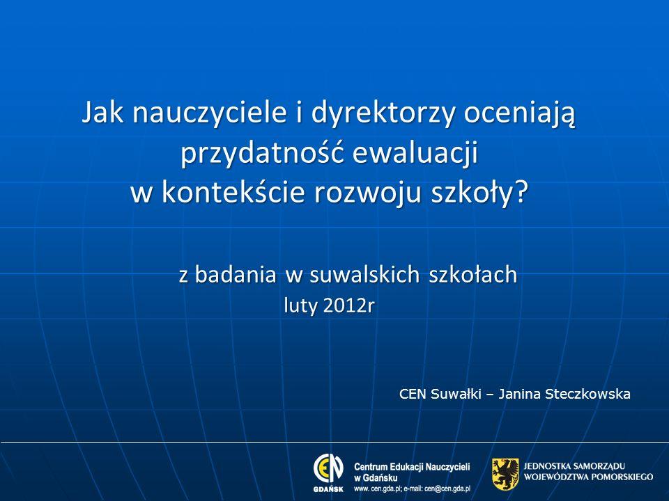 Jak nauczyciele i dyrektorzy oceniają przydatność ewaluacji w kontekście rozwoju szkoły z badania w suwalskich szkołach luty 2012r