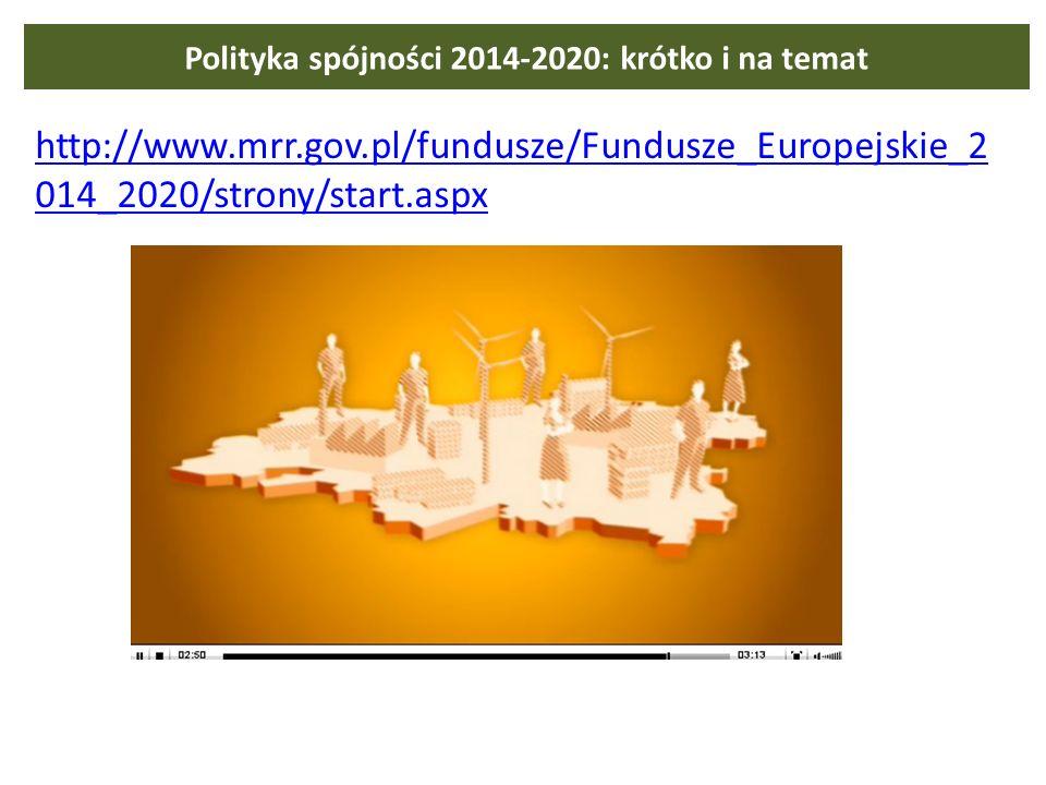 Polityka spójności 2014-2020: krótko i na temat