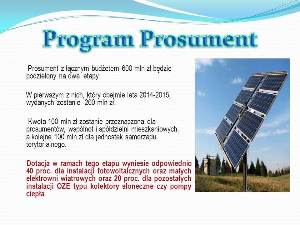 Program Prosument Prosument z łącznym budżetem 600 mln zł będzie podzielony na dwa etapy.
