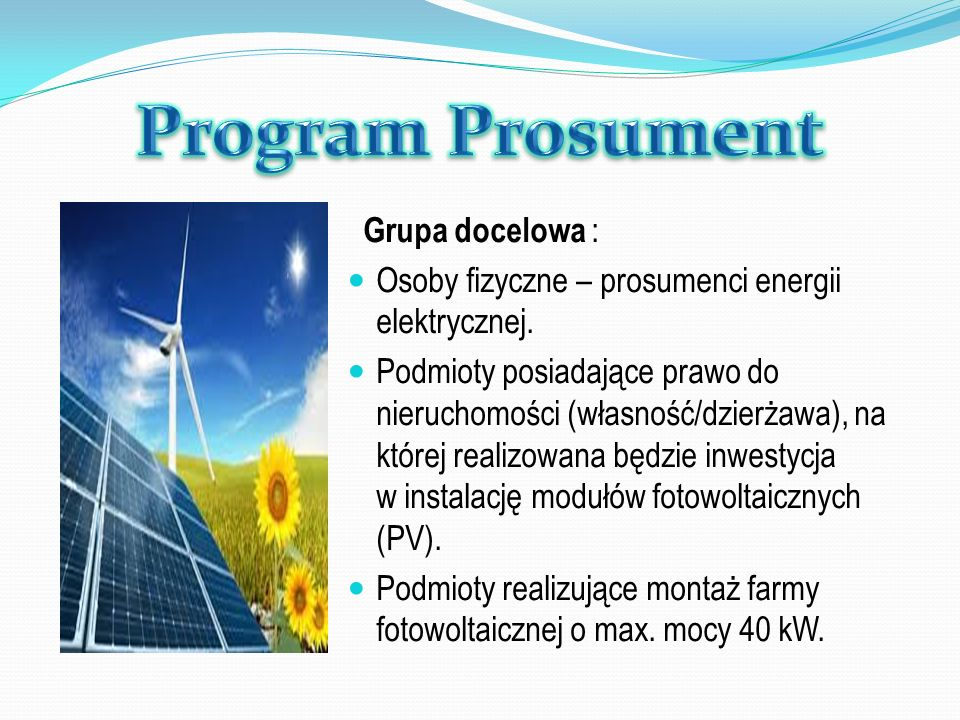 Program Prosument Grupa docelowa :