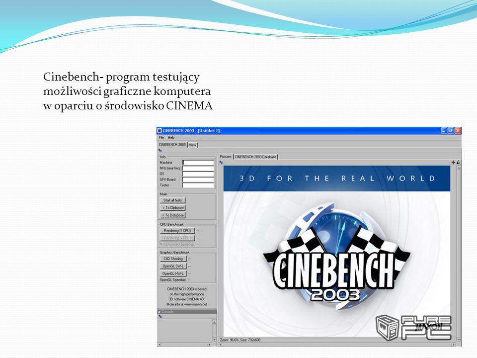 Cinebench- program testujący możliwości graficzne komputera w oparciu o środowisko CINEMA