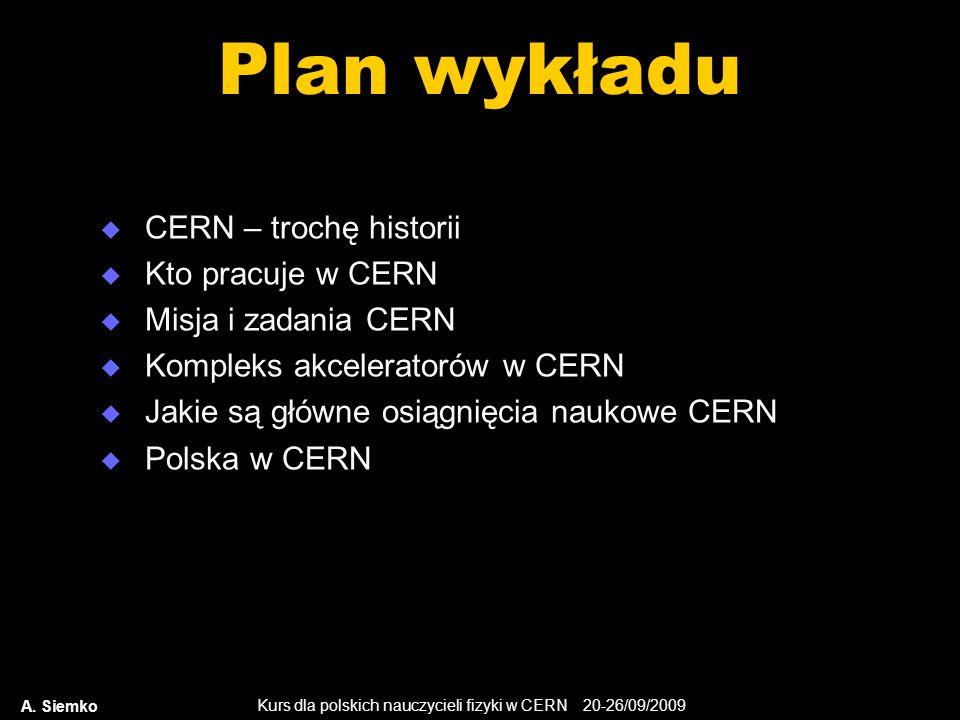 Plan wykładu CERN – trochę historii Kto pracuje w CERN