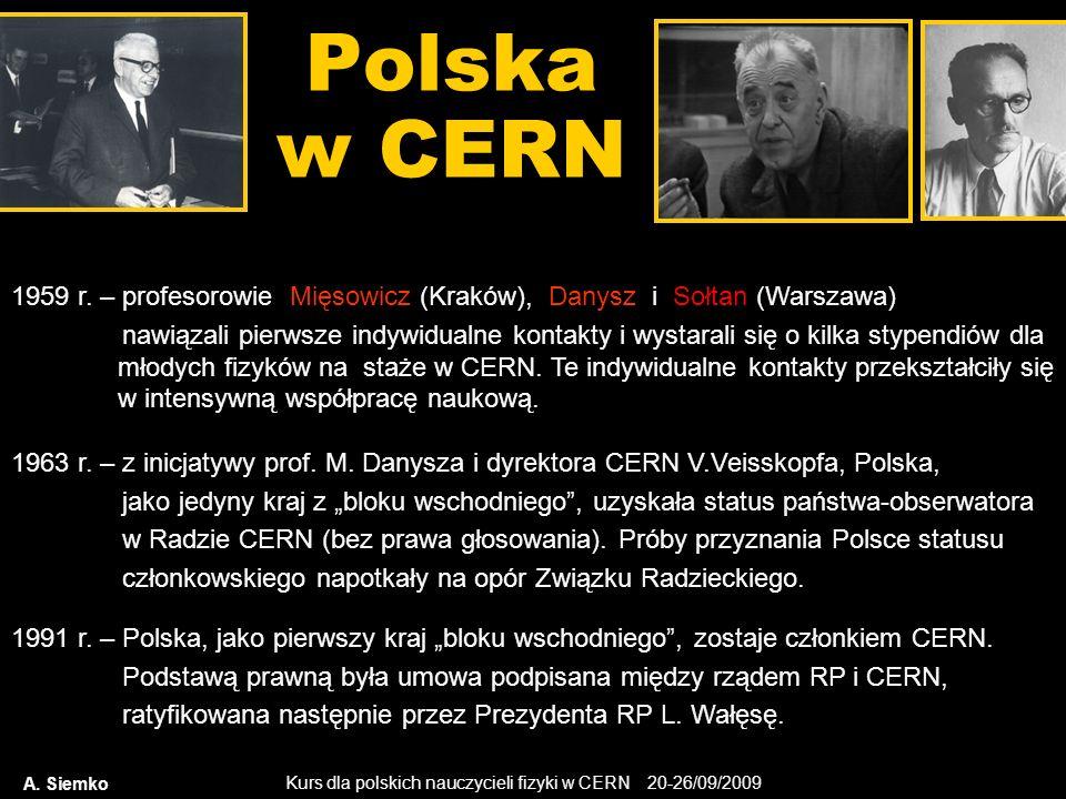 Polska w CERN 1959 r. – profesorowie Mięsowicz (Kraków), Danysz i Sołtan (Warszawa)