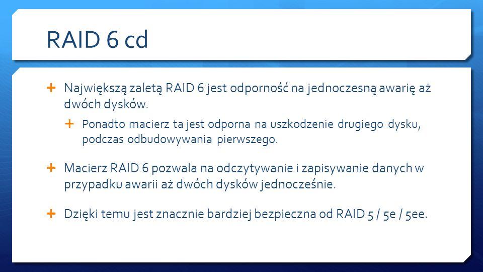 RAID 6 cd Największą zaletą RAID 6 jest odporność na jednoczesną awarię aż dwóch dysków.