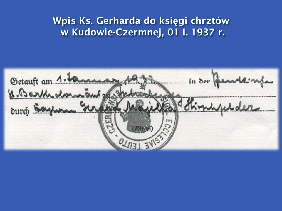 Wpis Ks. Gerharda do księgi chrztów w Kudowie-Czermnej, 01 I. 1937 r.
