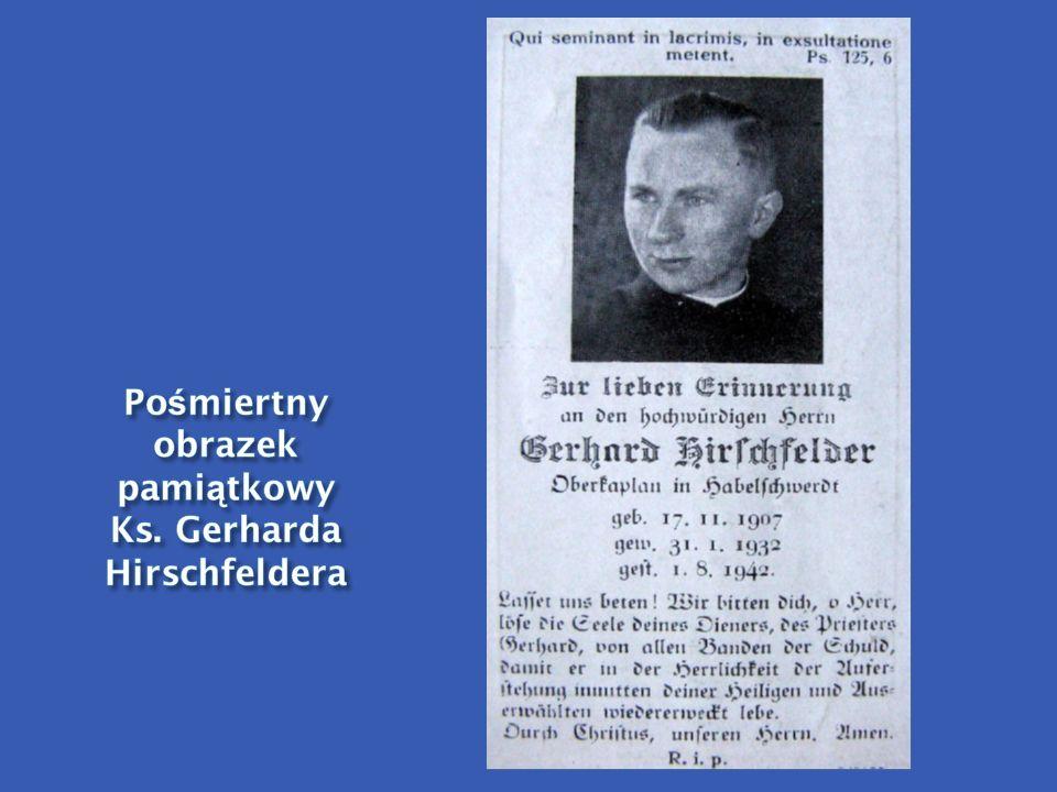Pośmiertny obrazek pamiątkowy Ks. Gerharda Hirschfeldera