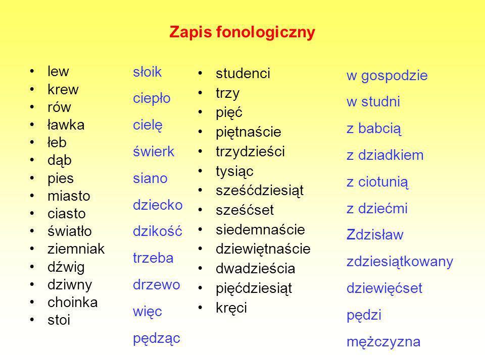 Zapis fonologiczny słoik ciepło cielę świerk siano dziecko dzikość
