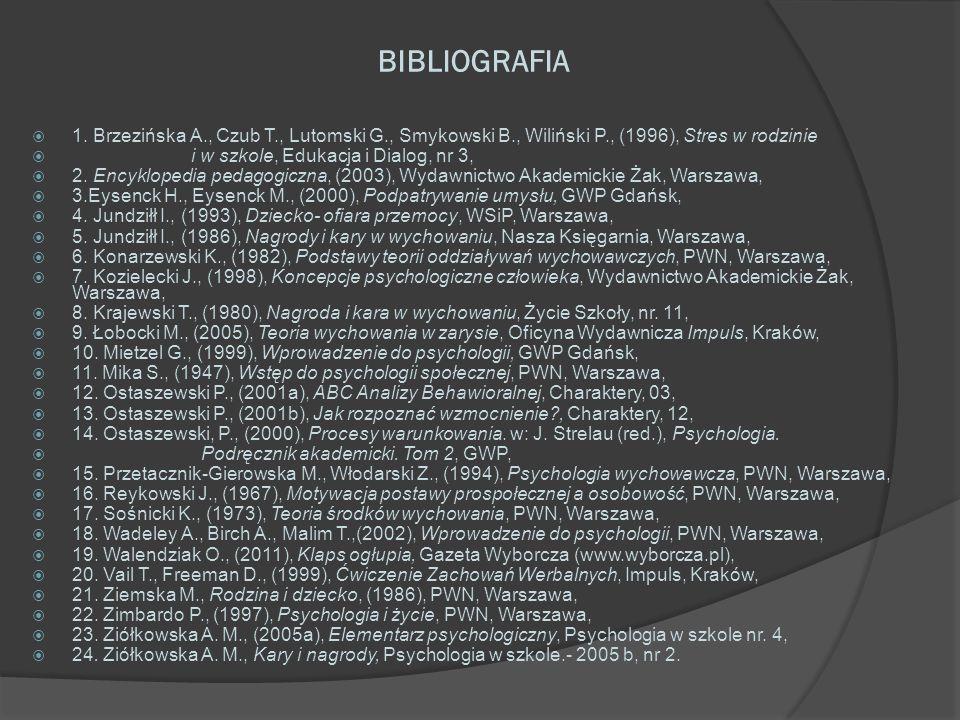 BIBLIOGRAFIA 1. Brzezińska A., Czub T., Lutomski G., Smykowski B., Wiliński P., (1996), Stres w rodzinie.