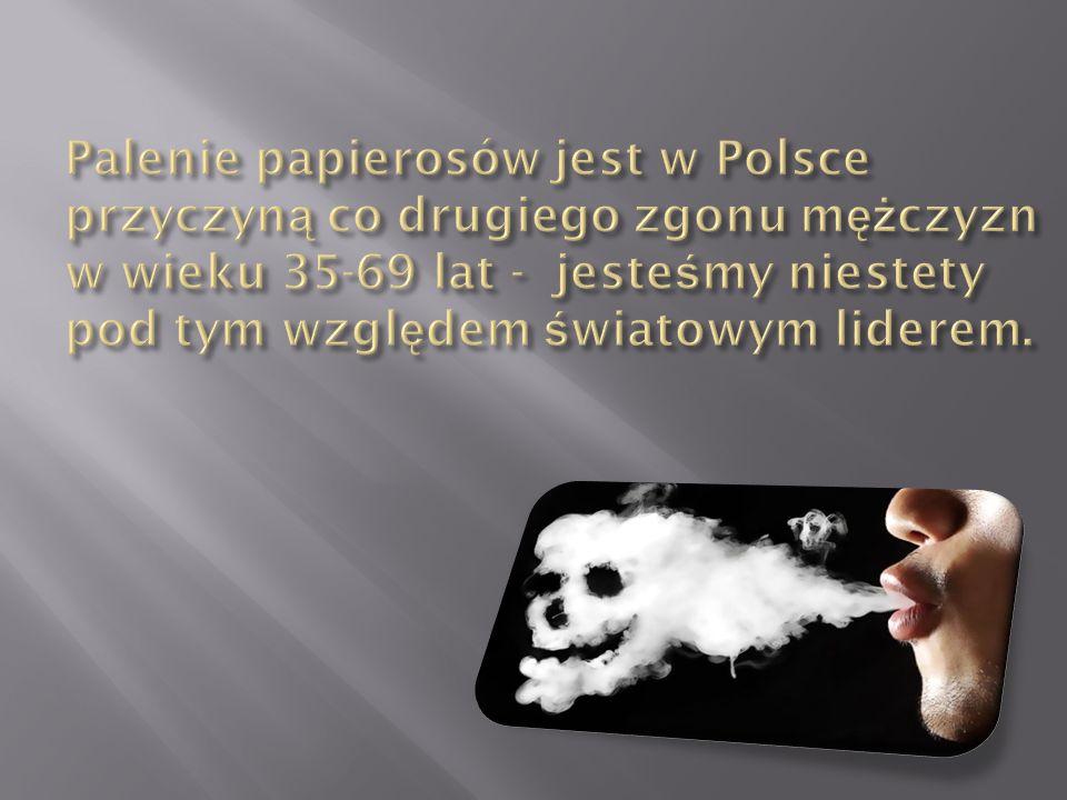 Palenie papierosów jest w Polsce przyczyną co drugiego zgonu mężczyzn w wieku 35-69 lat - jesteśmy niestety pod tym względem światowym liderem.