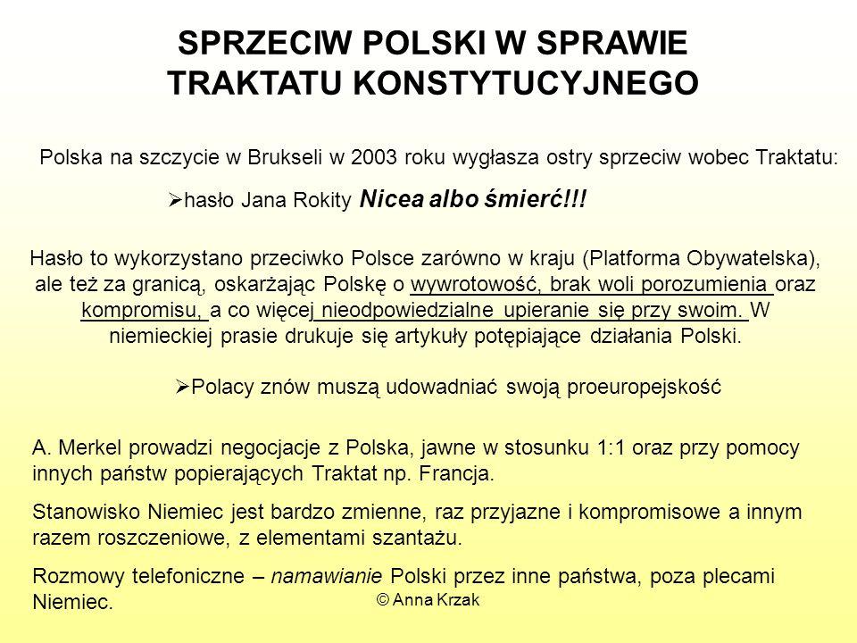 SPRZECIW POLSKI W SPRAWIE TRAKTATU KONSTYTUCYJNEGO