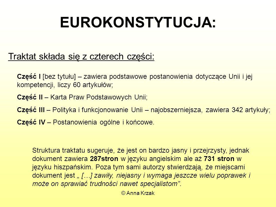 EUROKONSTYTUCJA: Traktat składa się z czterech części: