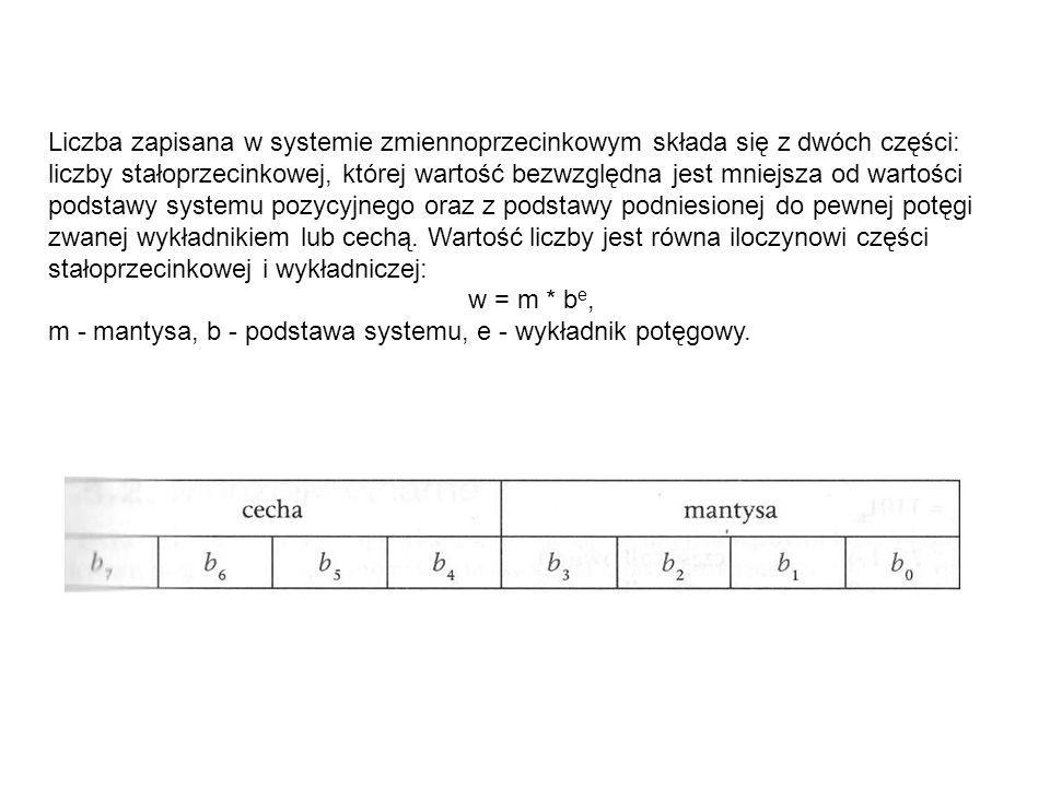 Liczba zapisana w systemie zmiennoprzecinkowym składa się z dwóch części: liczby stałoprzecinkowej, której wartość bezwzględna jest mniejsza od wartości podstawy systemu pozycyjnego oraz z podstawy podniesionej do pewnej potęgi zwanej wykładnikiem lub cechą. Wartość liczby jest równa iloczynowi części stałoprzecinkowej i wykładniczej: