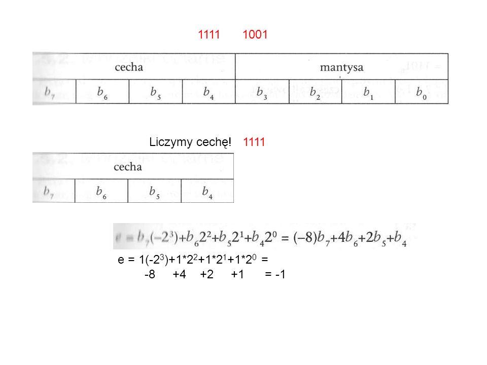 1111 1001 Liczymy cechę! 1111 e = 1(-23)+1*22+1*21+1*20 = -8 +4 +2 +1 = -1
