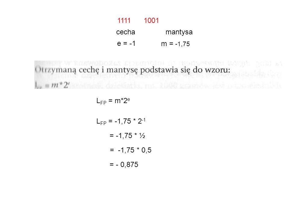 1111 1001 cecha mantysa. e = -1. m = -1,75. LFP = m*2e. LFP = -1,75 * 2-1. = -1,75 * ½.