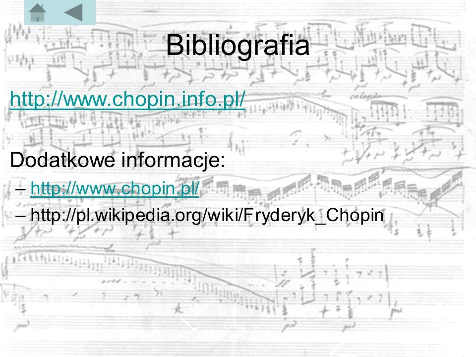 Bibliografia http://www.chopin.info.pl/ Dodatkowe informacje: