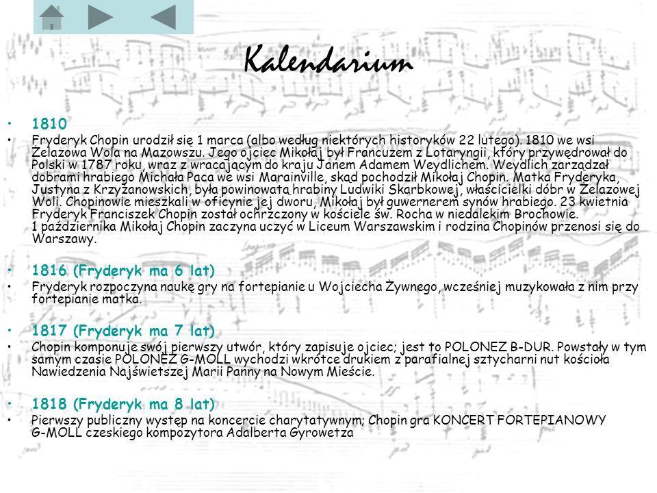 Kalendarium 1810 1816 (Fryderyk ma 6 lat) 1817 (Fryderyk ma 7 lat)