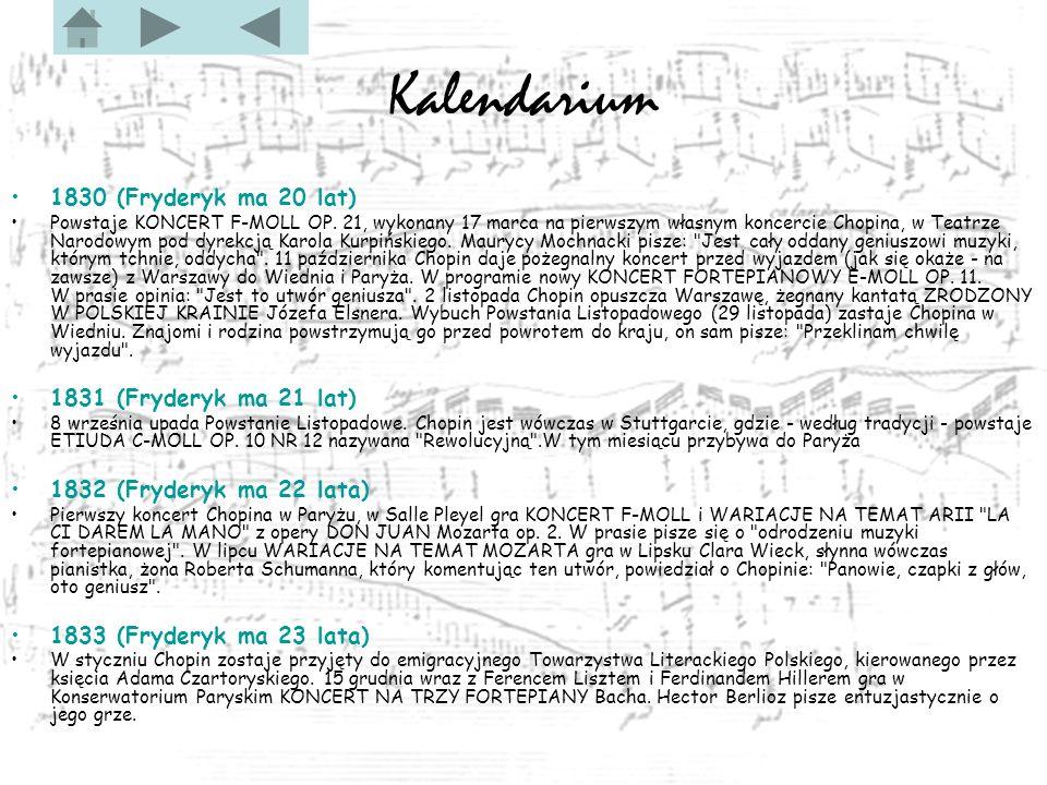 Kalendarium 1830 (Fryderyk ma 20 lat) 1831 (Fryderyk ma 21 lat)